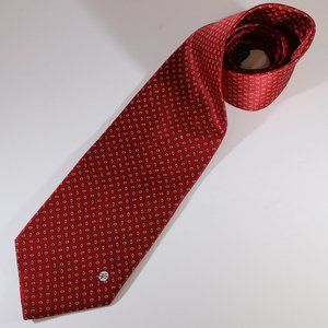 Versace V2 Red with Blue & Gold Check Silk Tie EUC
